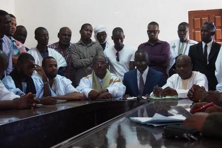 Les 11 activistes d'IRA libérés de prison le 18 novembre 2016, lors d'une conférence de presse tenue le 30 novembre à Nouakchott. © 2016 Marie Fora