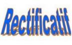 SAMBA THIAM : AVERTISSEMENT (RECTIFICATIF)